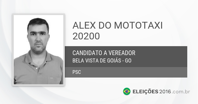 Santinho de Alex do Mototaxi - 20200 - Candidato a Vereador