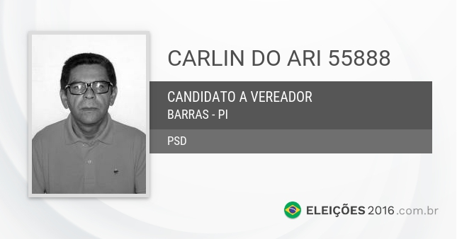 Santinho de Carlin do Ari - 55888 - Candidato a Vereador