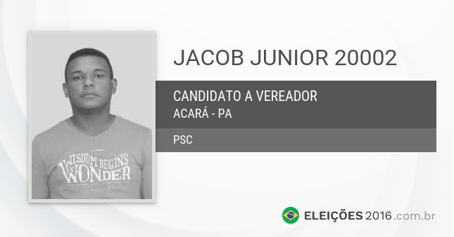 Santinho de Jacob Junior - 20002 - Candidato a Vereador