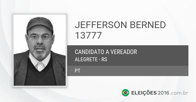 Santinho de Jefferson Berned - 13777 - Candidato a Vereador