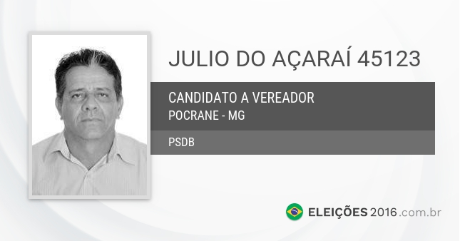 Santinho de Julio do Açaraí - 45123 - Candidato a Vereador