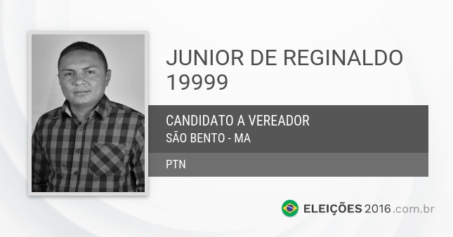 Santinho de Junior de Reginaldo - 19999 - Candidato a Vereador