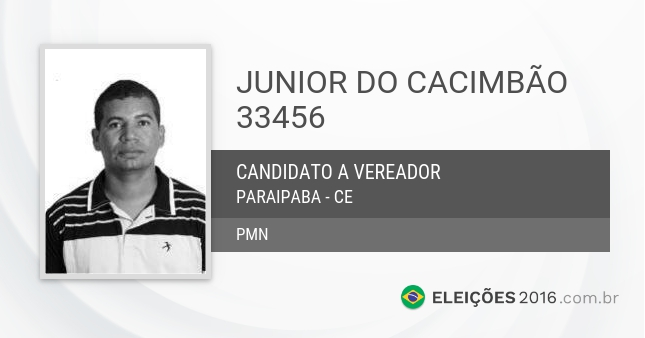 Santinho de Junior do Cacimbão - 33456 - Candidato a Vereador