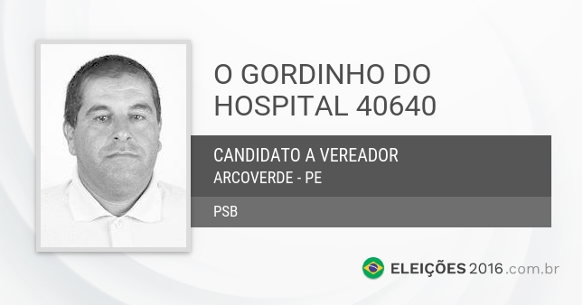 Santinho de O Gordinho do Hospital - 40640 - Candidato a Vereador