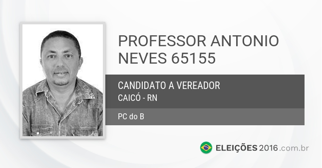 Santinho de Professor Antonio Neves - 65155 - Candidato a Vereador