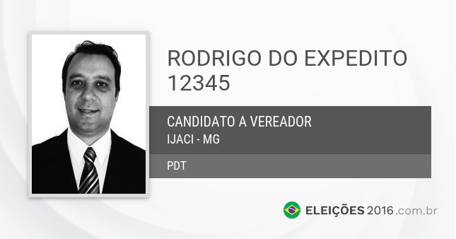 Santinho de Rodrigo do Expedito - 12345 - Candidato a Vereador