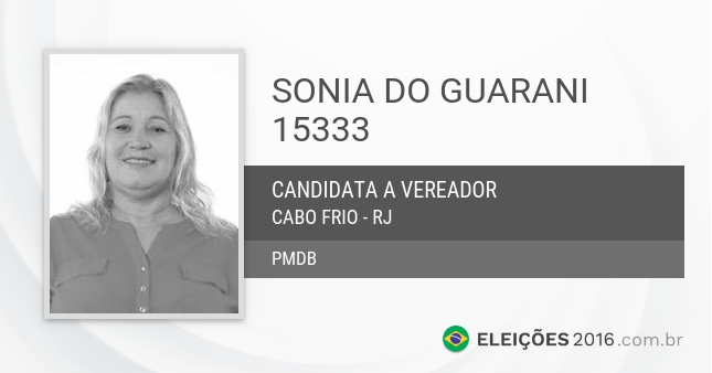 Santinho de Sonia do Guarani - 15333 - Candidata a Vereadora