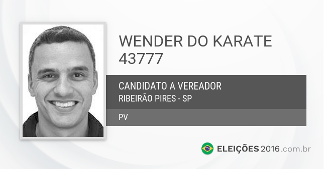 Santinho de Wender do Karate - 43777 - Candidato a Vereador