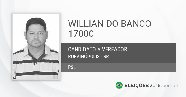 Santinho de Willian do Banco - 17000 - Candidato a Vereador