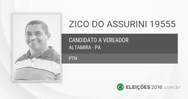 Santinho de Zico do Assurini - 19555 - Candidato a Vereador