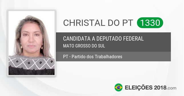 Santinho de Christal do Pt - 1330 - Candidata a Deputada Federal