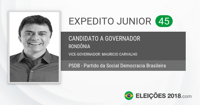 Santinho de Expedito Junior - 45 - Candidato a Governador