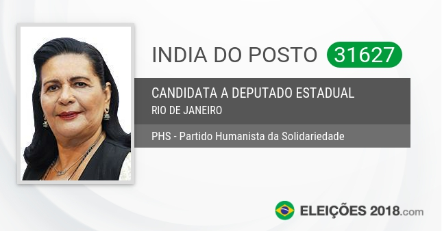 Santinho de India do Posto - 31627 - Candidata a Deputada Estadual