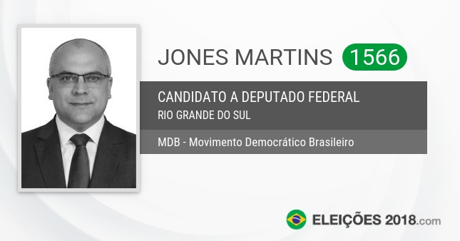 Santinho de Jones Martins - 1566 - Candidato a Deputado Federal