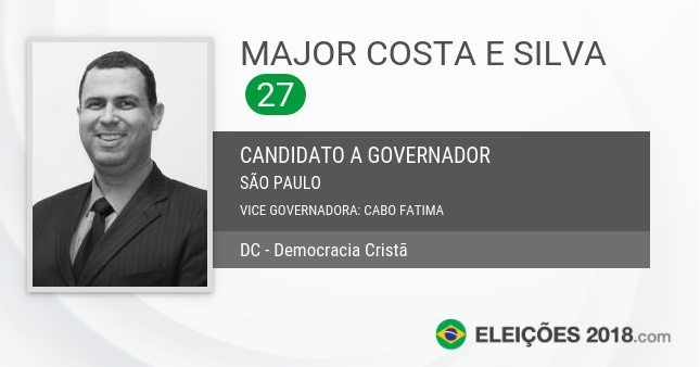 Santinho de Major Costa e Silva - 27 - Candidato a Governador