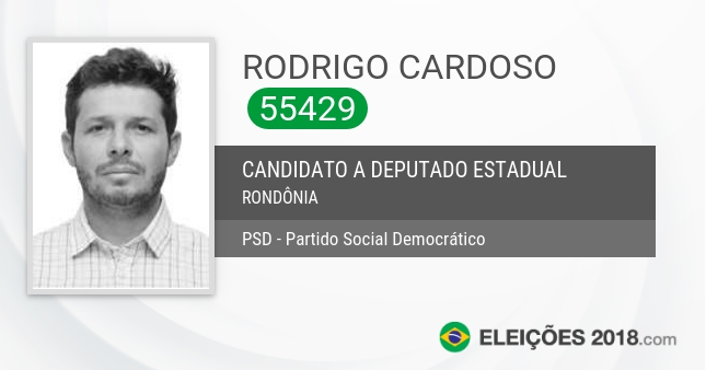 Santinho de Rodrigo Cardoso - 55429 - Candidato a Deputado Estadual