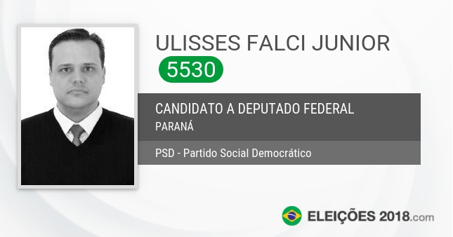 Santinho de Ulisses Falci Junior - 5530 - Candidato a Deputado Federal