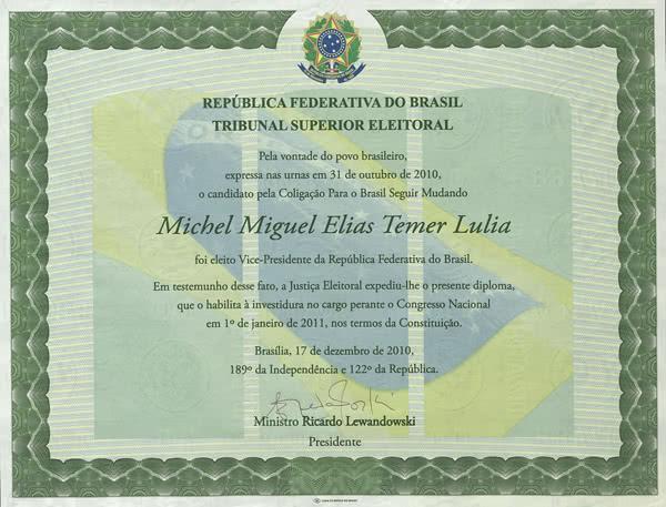 Diploma Michel Temer